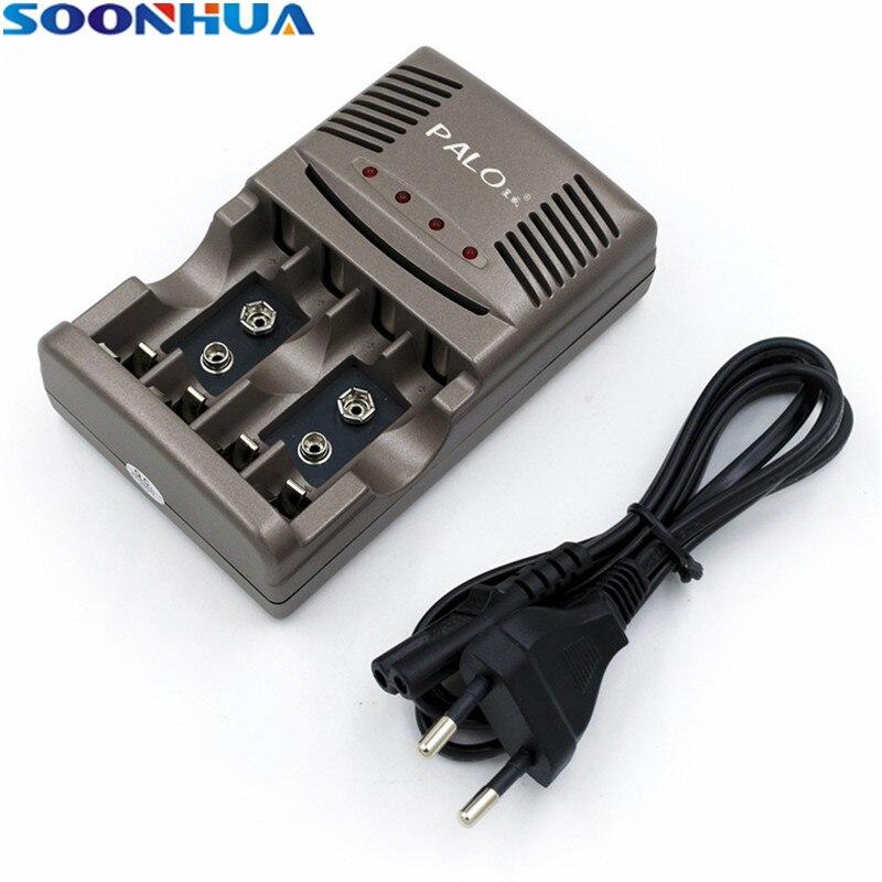 SOONHUA Universelle Schnelle Batterie Ladegerät Mit LED 4 Slots Intelligente Ladegerät Für AA AAA 9 v NiCd NiMh Akkus