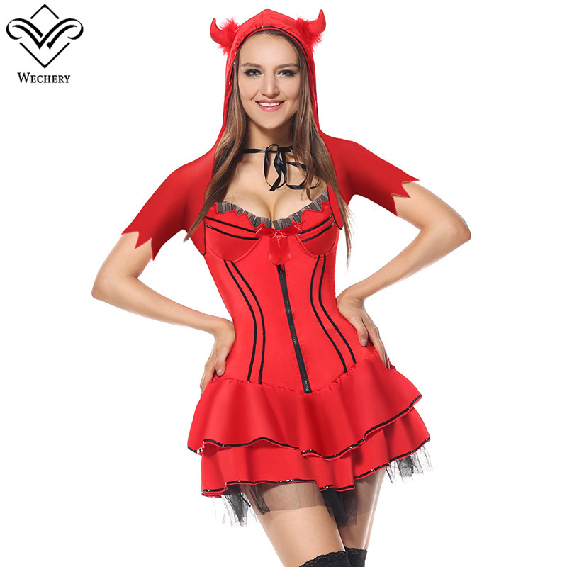 Wechery Demon Devil Satan Cosplay Red Mini Tutu Dress for Women Halloween Costumes Front Zipper with Hat Plus Size