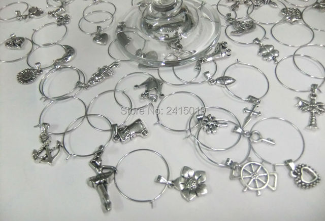 Freeship 50x simplized mixed patterns party wine glass charms ...