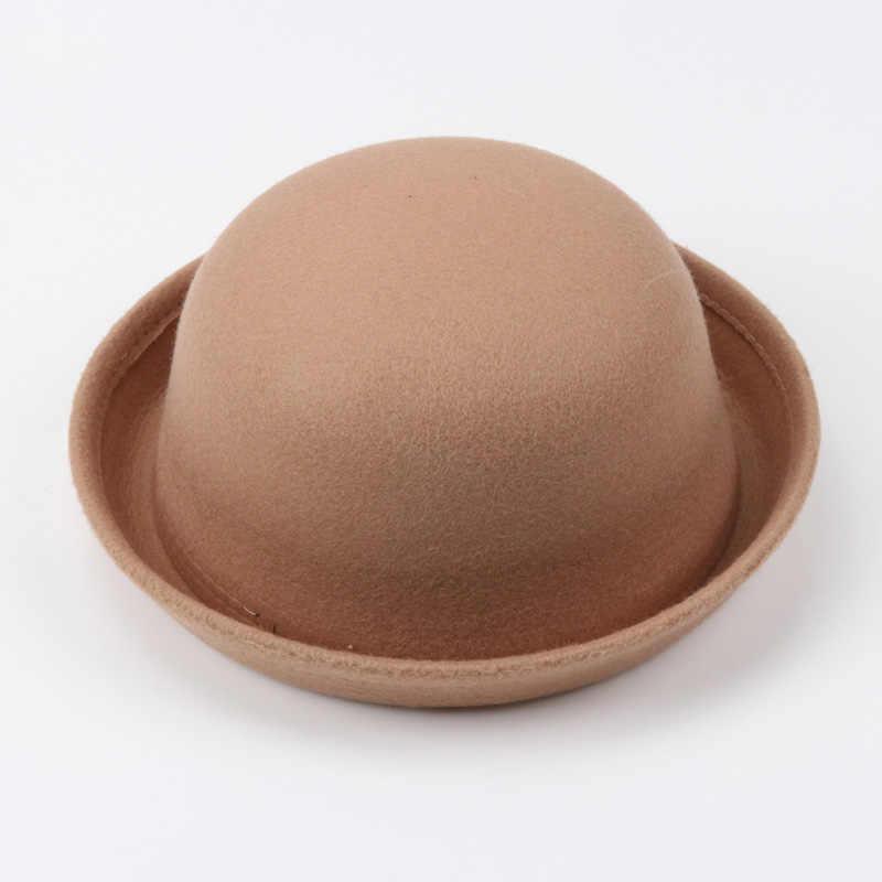 6b6fb06a452 ... 2018 Black Multiple Color Little girls Fedora Hat Dome Cap Children  Dress Hats Kids Caps Felt ...