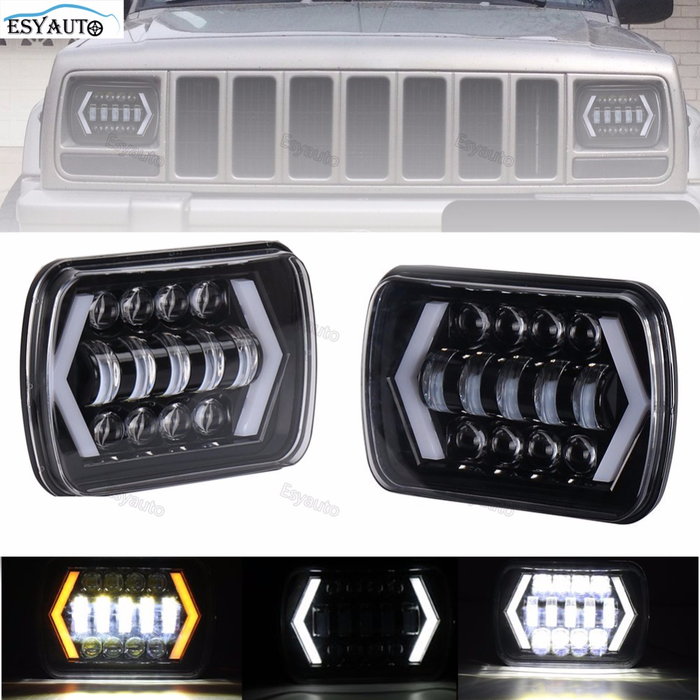 New!LED Truck Lights 7x6 5x7 Driving Lamps 24V White Amber Arrow Style Angel Eyes Replaces H6014 H6054 6054 H6052 for Jeep YJ аккумулятор yoobao yb 6014 10400mah green