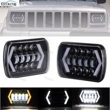 Новинка! светодиодные фары грузовика 7×6 5×7 вождения Лампы для мотоциклов 24 В белый янтарь стрелка Стиль Ангельские глазки заменяет h6014 h6054 6054 h6052 для Jeep YJ