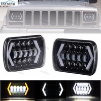 New LED Truck Lights 7x6 5x7 Driving Lamps 24V White Amber Arrow Style Angel Eyes Replaces