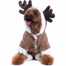 Cute Cotton Elk Style Pet Dog Clothes 4 Legs Winter Warm Coat Jacket Hoodie Christmas Party Puppy Fancy Dress Costums