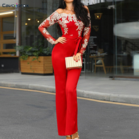 Women Flower Embroidery Off Shoulder Wide Leg Jumpsuit Casual Lace Patchwork Slim Fit Spring Fall Bodycon Jumpsuits