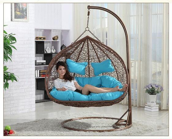 rattan double seats hanging casual swing chair-in Garden ...