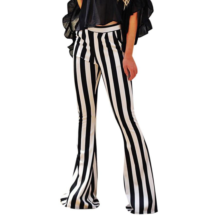 snowshine YLW Women Bell Bottoms Flare Trousers High Waist Stretch Vertical Stripe Long Pants