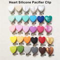 5pcs Silicone Heart Baby Dummy Teether Pacifier Chain Clips Baby Soother Nursing Accessories Holder Clips 5 color 48*63*33mm