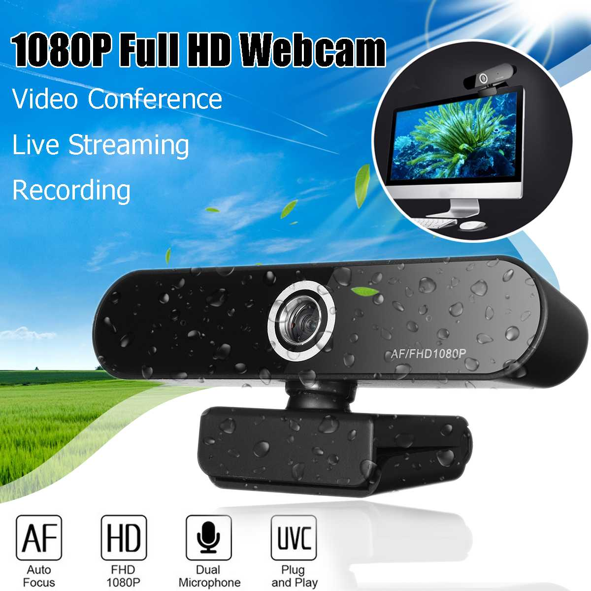 LEORY Webcam <font><b>1080P</b></font> HD AF USB Multifunctional Base Camera Dual Built-in Microphone 1920x1080p USB Plug <font><b>Web</b></font> <font><b>Cam</b></font> Widescreen Video image