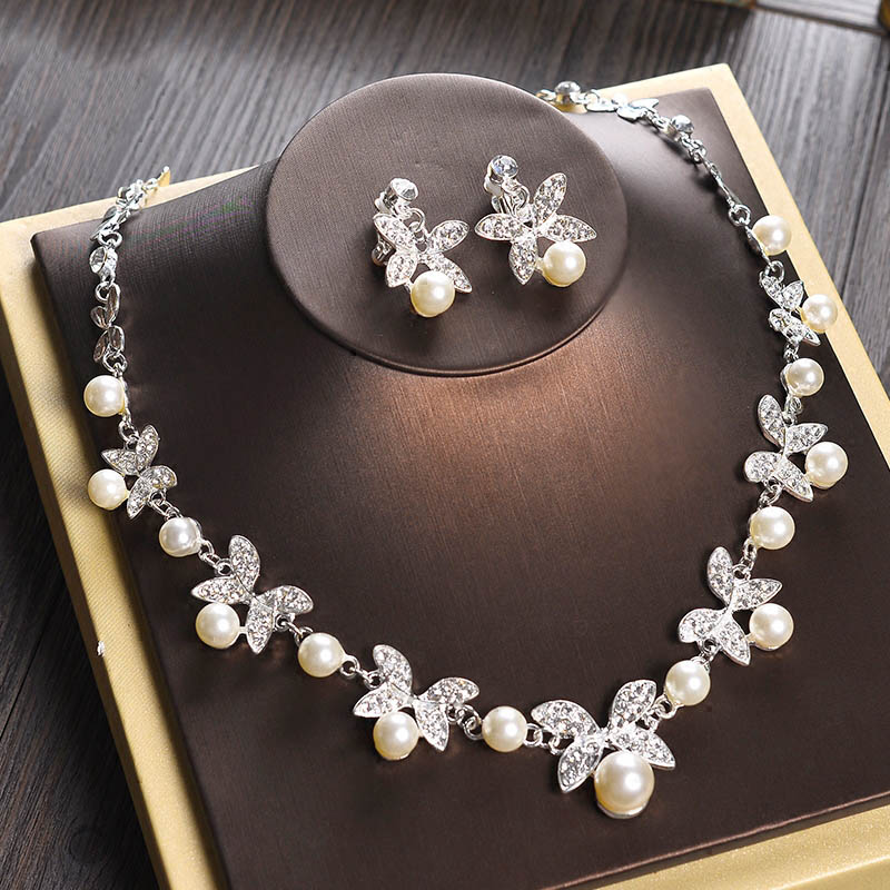 Women Wedding Pearl Necklace Jewelry Set Clips Earrings Erfly Jewellery Sets Engagement Pin Xl002 In From