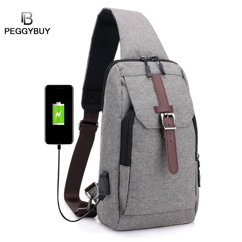 Male shoulder Bags USB charging cross body bags men Anti theft chest Bag School summer Short Travel Messengers bag