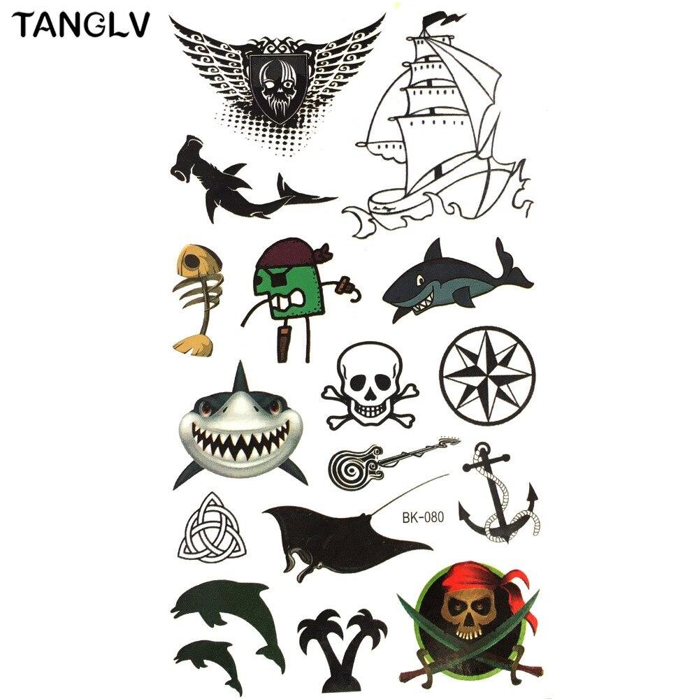 Tanglv Brand Temporary 3d Tattoo Body Artsshark Fish Skull Pirates Flash Tattoo Sticker Keep 3 5