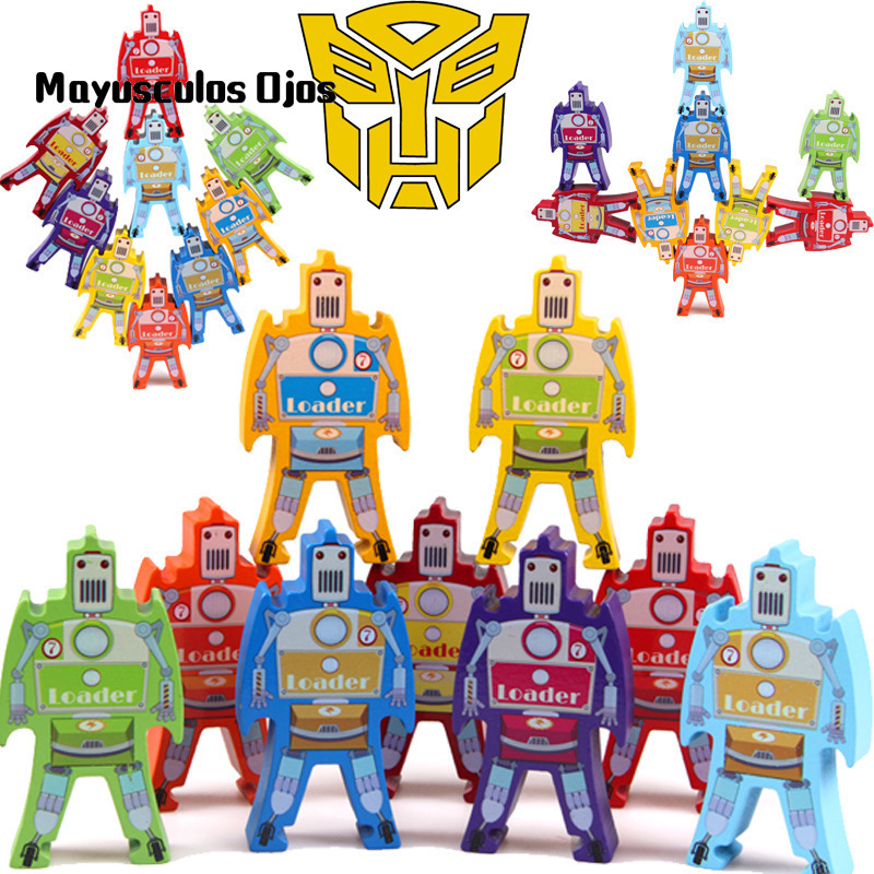 Toys & Hobbies Supply 1set Robot Stacking High Wooden Toys Stacking Lohan Balance Game Early Learning Jenga Building Blocks Educational Toys Street Price Model Building