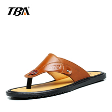 TBA High Quality Cow Split Beach Summer Men's Flip Flops Sandals Open-toed Fashion and Leisure Male Leather Slippers 5835