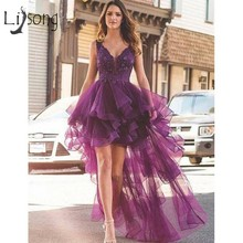 Sexy Purple High Low Prom Dresses 2019 Lace Appliques Ruffles Long Formal Party Dress V neck