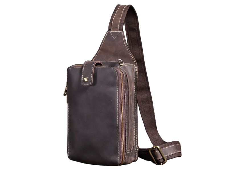 Nesitu Genuine Leather Cowhide Chest pack Mens Crossbody Chest Bags Casual Fashion Small Shoulder Bag for Man Bag Brown #M8022Nesitu Genuine Leather Cowhide Chest pack Mens Crossbody Chest Bags Casual Fashion Small Shoulder Bag for Man Bag Brown #M8022