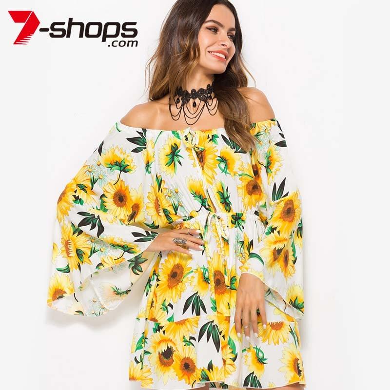8ce77c5604e 7 Shops Sunflower Summer Dress Women Boho Tunic Short Beach Dresses Off  Shoulder Long Flare Sleeve Dress Lace Up Female Dresses-in Dresses from  Women s ...