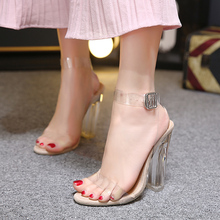 Women gladiator sandals ladies pumps thick high heels shoes woman Crystal Clear Transparent ankle strap party wedding shoes