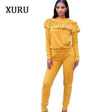 XURU Elegant Ruffles Women Jumpsuits Autumn Winter Two Piece Long Sleeve Set Womens Fashion Casual