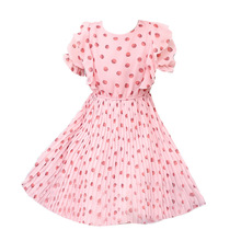 Summer Pink Kids Dresses for Girls children Polka dot print Chiffon Princess Dress Girls Clothes 3 4 5 6 7 8-13Years Old цена и фото