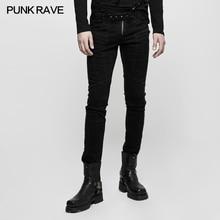 PUNK RAVE Gothic Black Mens Punk Rock Cool Pants Steampunk Stage Performance Causl Long Pencil Streetwear