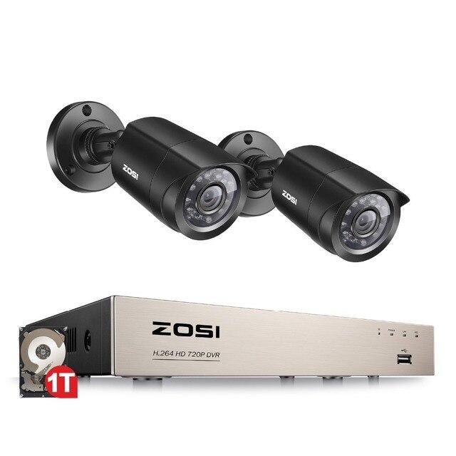 ZOSI 4CH DVR CCTV מערכת 2CH/4CH 1.0 MP IR חיצוני אבטחת מצלמות 720 P HDMI TVI CCTV DVR 1200TVL ערכת מעקב