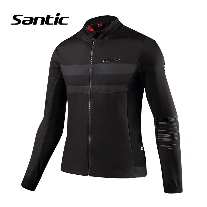 Santic Men Cycling Jacket Winter Long Sleeve Windproof Downhill Clothing Thermal Warm Bike Wind Jacket Bicycle Jersey Reflective стоимость
