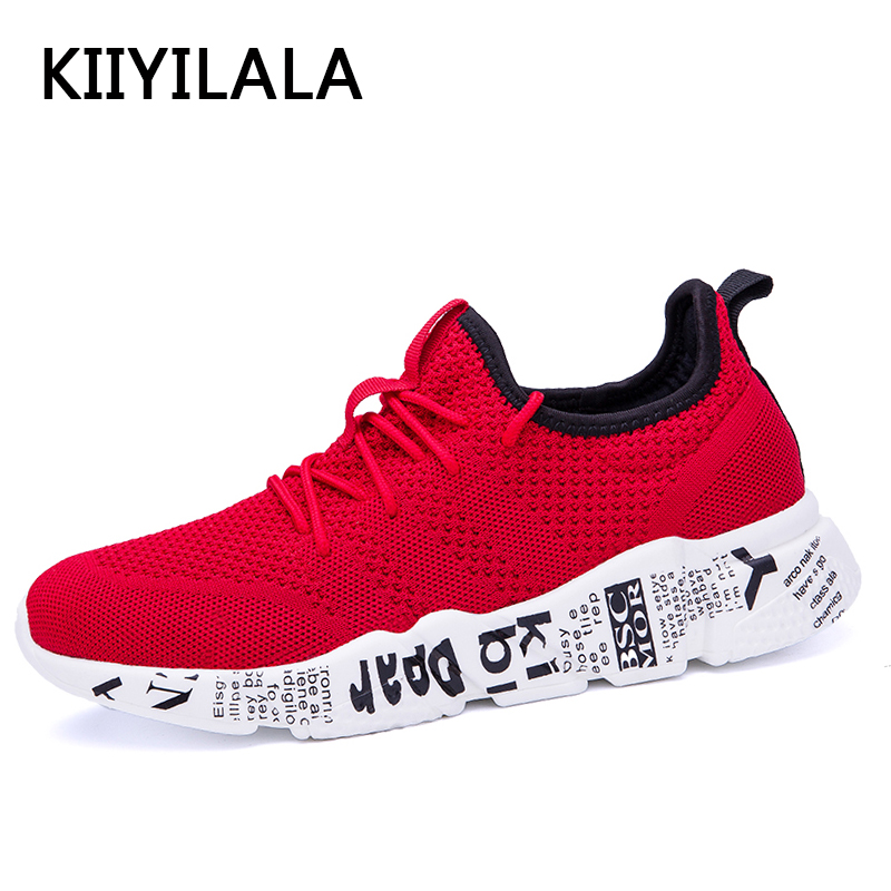 KIIYILALA Mesh Shoes Men Sneakers Men Red Sports Spring Summer Running Shoes Lace-up Light For Women Breathable Run Shoes