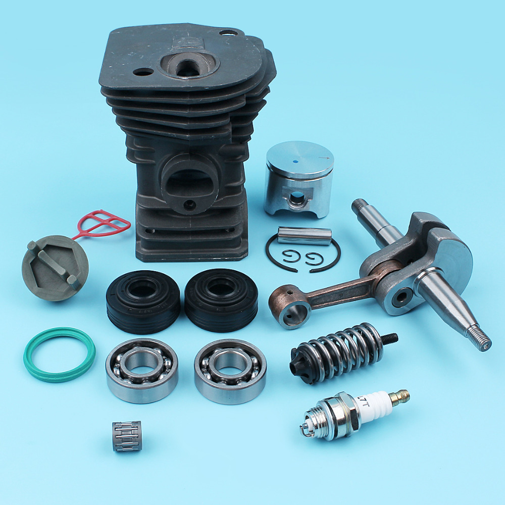 42MM Cylinder Piston Crankshaft Ball Bearing Oil Seal Kit For Husqvarna 340 345 Chainsaw Fuel Cap Handle Bar AV Spring 503870276 все цены