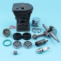 42MM Cylinder Piston Crankshaft Ball Bearing Oil Seal Kit For Husqvarna 340 345 Chainsaw Fuel Cap Handle Bar AV Spring 503870276