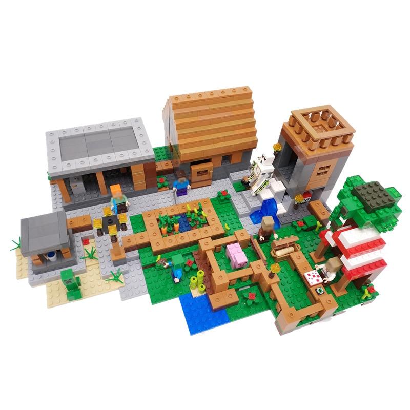 1106 pièces New Happy Village Vie Cube Chiffre Animaux Poupées Designer blocs de construction Compatible Blocs Minecrafted Jouet Pour Enfants Cadeaux