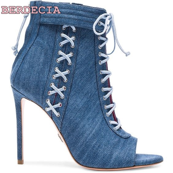 blue denim lace up sandal boots peep toe ankle strap woman shoes thin heel ladies shoes high quality short boots on sale abnormal ankle strap folk multi colored catwalk colourful sandal round toe chunky peep pumps pom high quality designer shoe heel