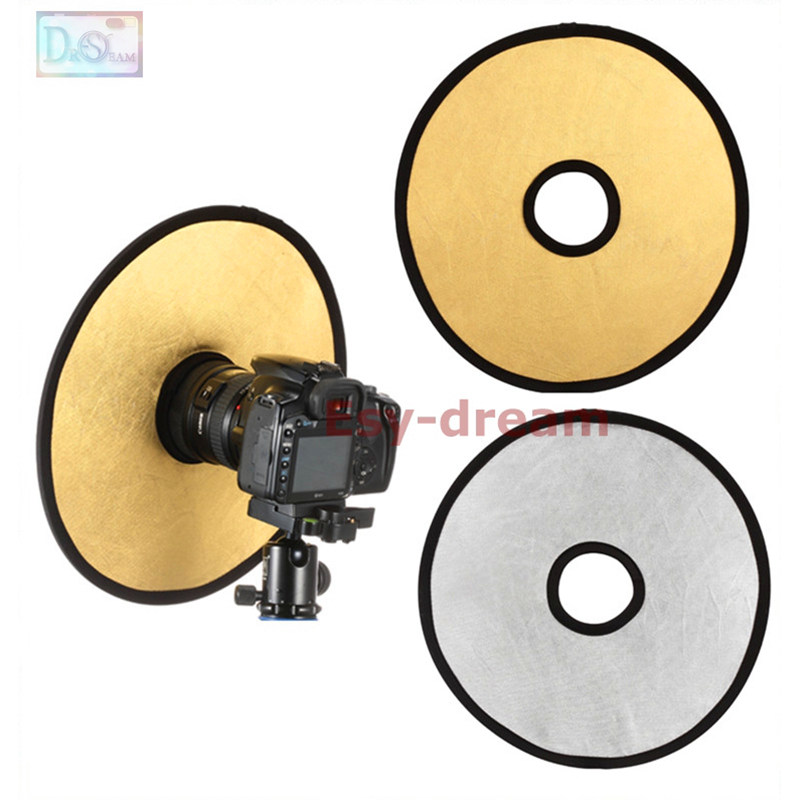 30cm 2 in 1 Golden&Silver Collapsible Light Round Photography Hollow Reflector for Studio