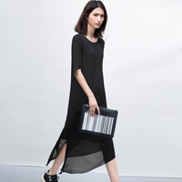 Настройка Лето минималистский o-образным вырезом шить наклона низ шифоновое платье 120 цветов Нерегулярные Большие размеры в простом стиле п...