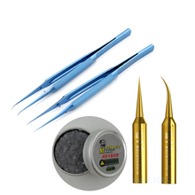 Fingerprint Professional Flying Line Suit blue silvery Titanium alloy tweezers The iron head Resurrection paste IPhone repair