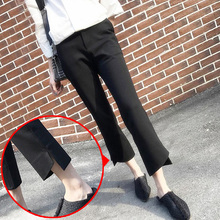 Hot Selling Ladies Office Black Pants Fashion Loose Wide Leg Woman High Waist Casual OL Ankle-Length For Women