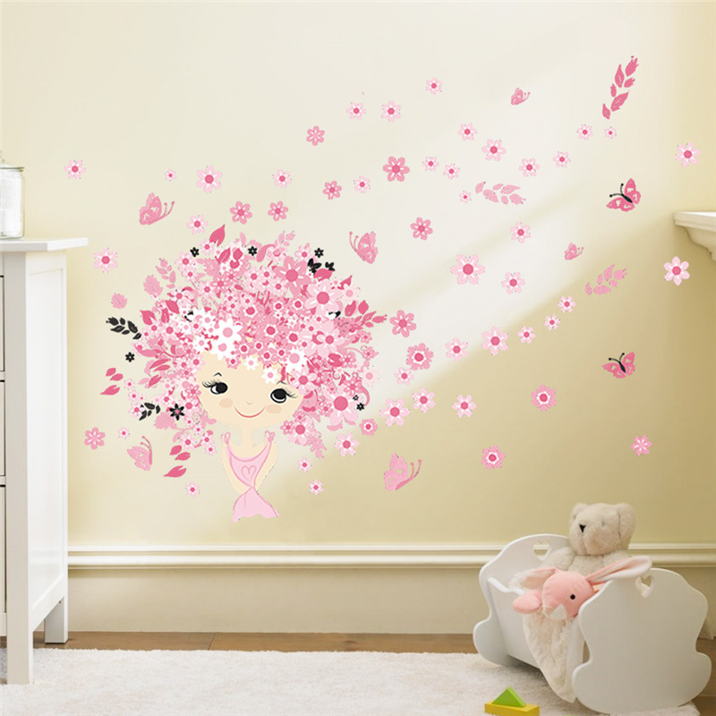 Fairies girl butterfly flowers wall stickers for kids for Kids room wall decor