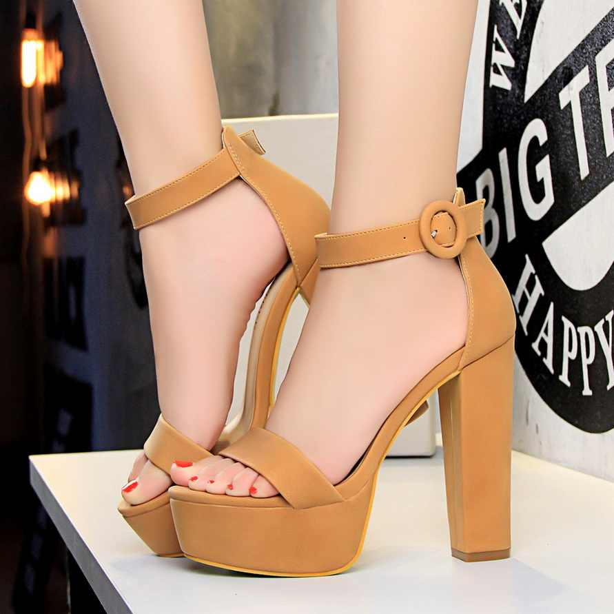 b3a41ca0990c1f ... 2018 Women Classic 13cm Block High Heels Fetish Suede Platform Sandals  Female Chunky Summer Shoes Lady ...