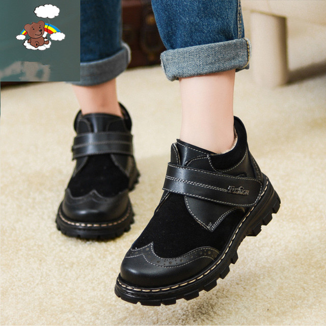 Girls shoes new 2017 Autumn and winter warm they hundred percent genuine leather kids leather leather genuine leather shoes boy