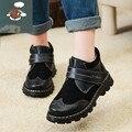 Sapatos meninas novo 2017 Outono e inverno quente eles cem por cento de couro genuíno couro crianças de couro genuíno sapatos de couro menino