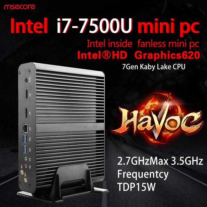 Fanless Intel Core i7 7500U Mini PC Windows 10 Desktop Computer Nettop barebone system Kabylake HTPC HD620 Graphics 4K 300M WiFi