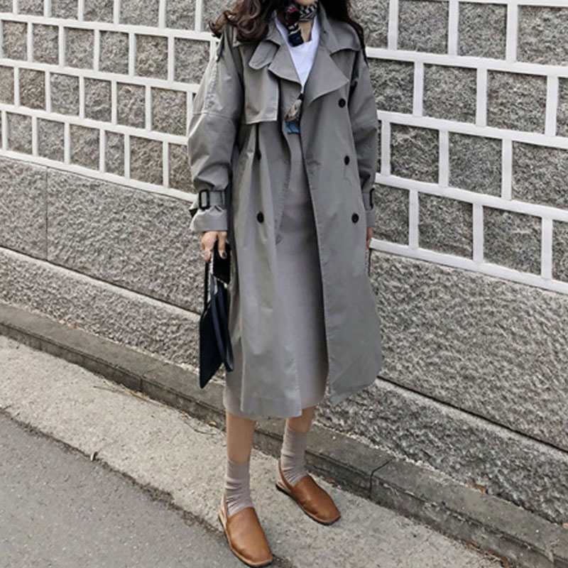 Trench   coat female spring outwear long Korean style ladies overcoat loose large size windbreaker coat women elegant coats
