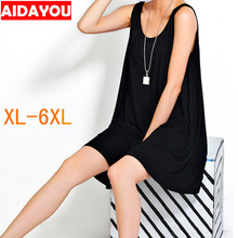 2019 Women loose Dress plus size 6xl Sexy o neck female Sleeveless modal soft skin casual Dresses for beach  ouc1138