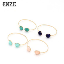 ENZE exquisite blue stone round metal bracelet elegant pink blue green colored openings for women and girls jewelry accessories