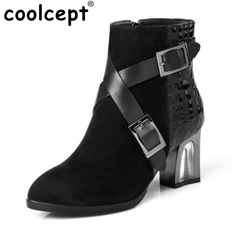 New Design Women Genuine Leather Pointed Toe Ankle Boots Woman Thick Heel Botas buckle Zipper Heeled Shoes Size 31-45 fishing lure 1 box metal iron hard bait sequins jigging spoon lures and fishing connector pin fishing tackle pesca accessories