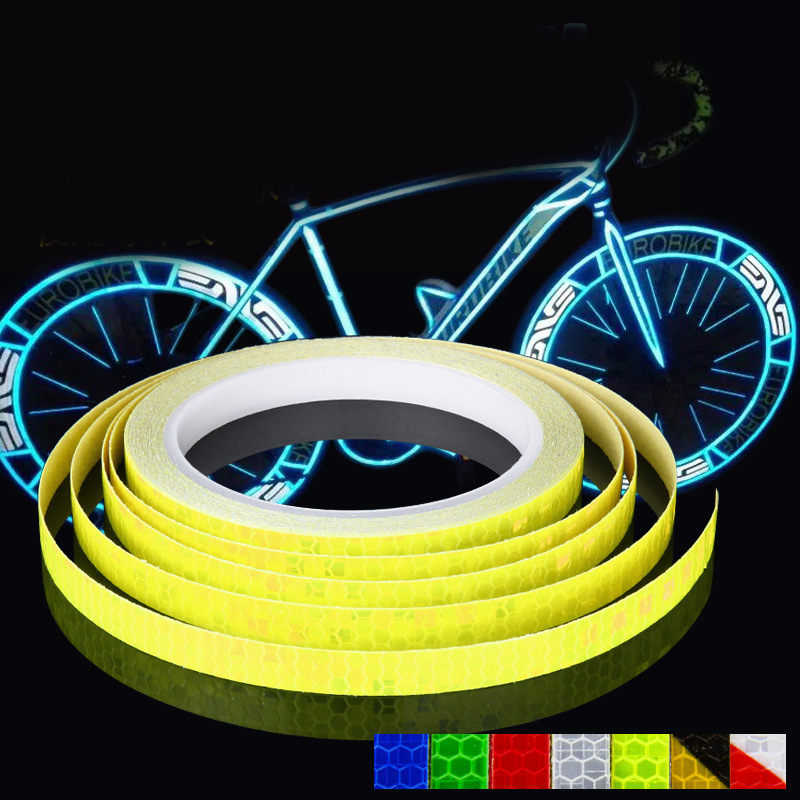 Reflective Stickers Motorcycle Bicycle Reflector Bike Cycling Security Wheel Rim Decal Tape Fluorescent Waterproof 1cm*8m