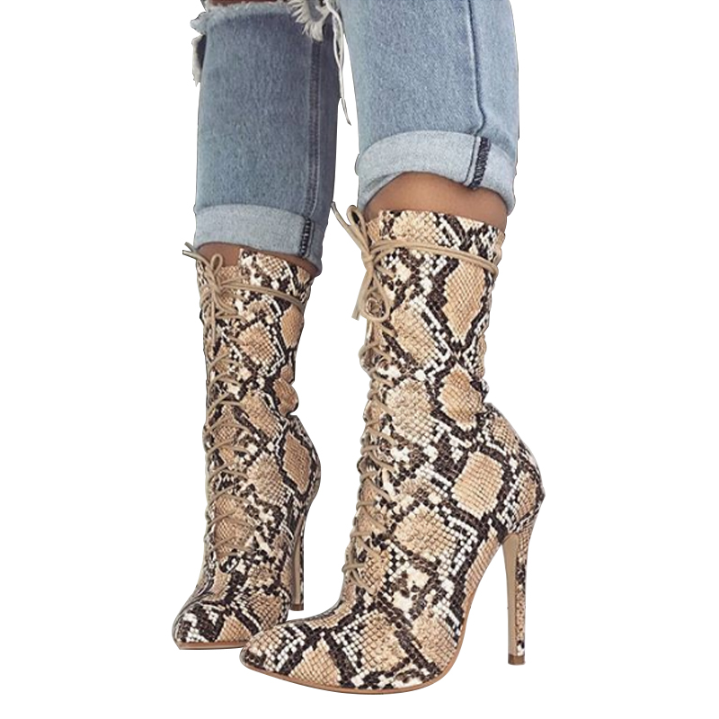 Women Winter Snakeskin Boots Sexy Pointed Toe Thin High Heels Boots Nightclub Shoes Cross Tied Lace Up Women Shoes Ladies Botas