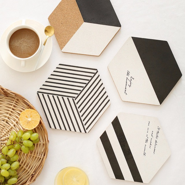 Simple Black White Wood Drink Coaster Coffee Cup Mat Tea Pad Dining Fashion Soft Wooden Placemats.jpg 640x640 - tabletop-and-bar, drinkware - Nordic Cork Wood Coasters