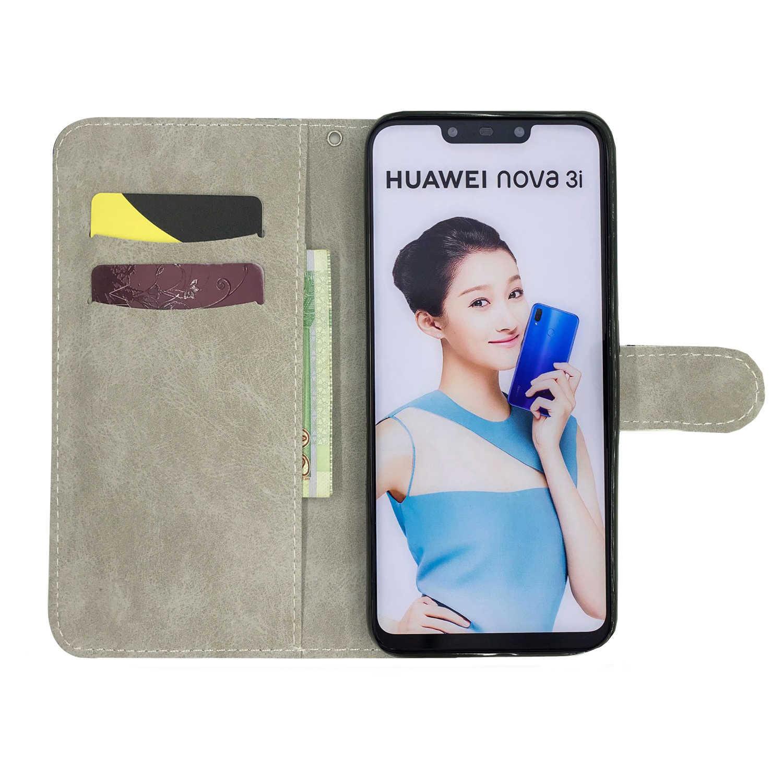 3D окрашенный Coque телефон сумка для huawei Nova 3i 4e смартфон Etui Флип кожаный бумажник чехол для huawei Honor 7C 8X9 10 Lite