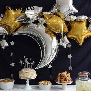 Image 1 - 1 סט 30 אינץ גדול כסף ירח 18 אינץ slive/זהב כוכב רדיד בלוני הליום globos יום הולדת מסיבת חתונה תינוק מקלחת דקור